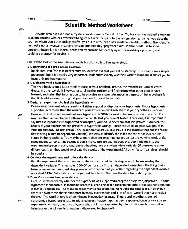 Scientific Method Worksheet Answer Key New Sample Scientific Method Worksheet 8 Free Documents