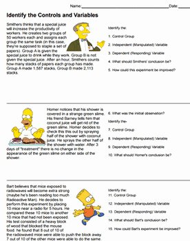 Scientific Method Worksheet Answers Luxury Identify Controls and Variables with the Simpsons Answer