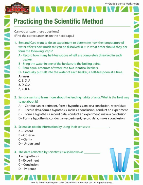 Scientific Method Worksheet Middle School Beautiful Practicing the Scientific Method Worksheet – Science
