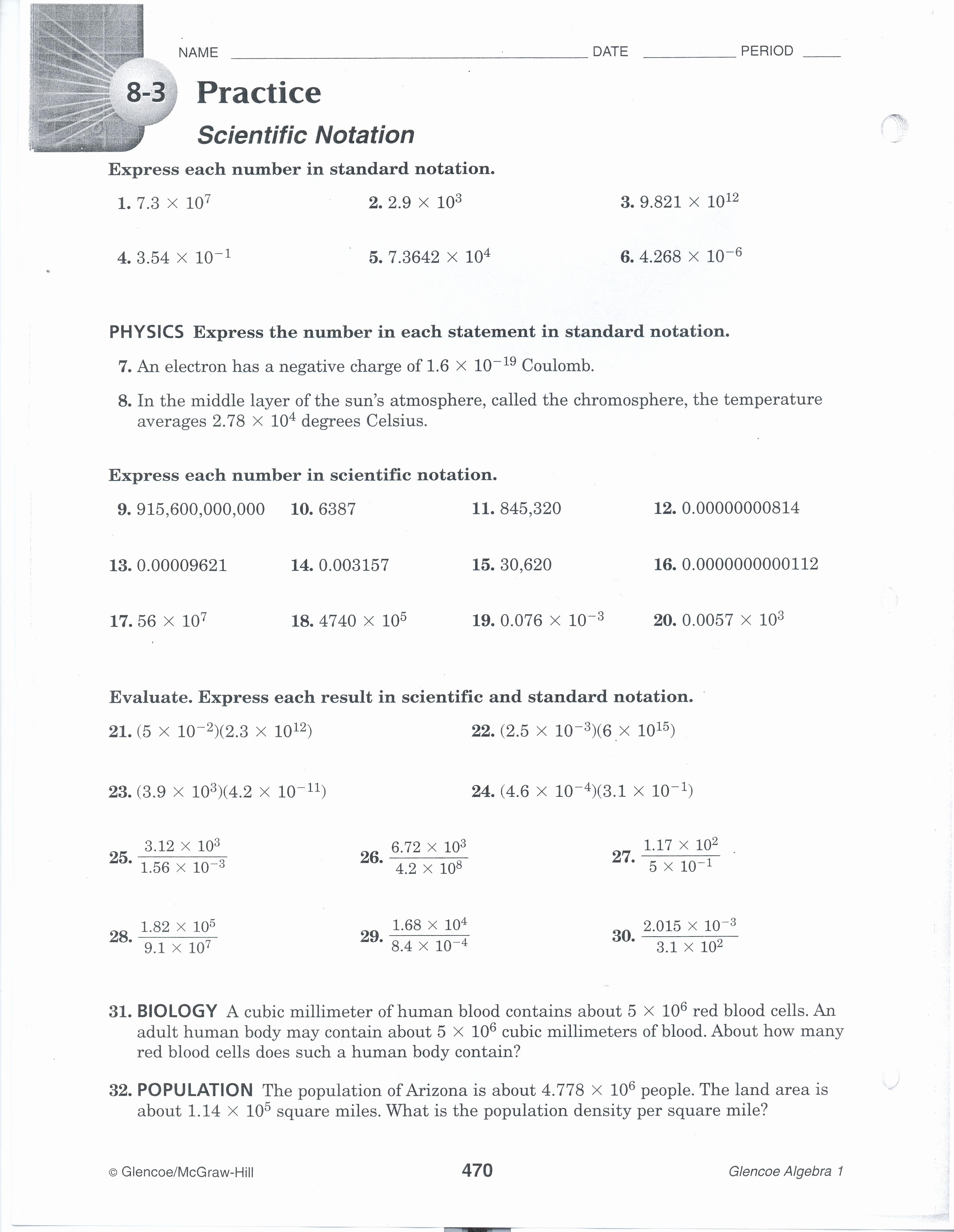 Scientific Notation Practice Worksheet Luxury Nauset Regional School District – Green Pre Algebra – Essign