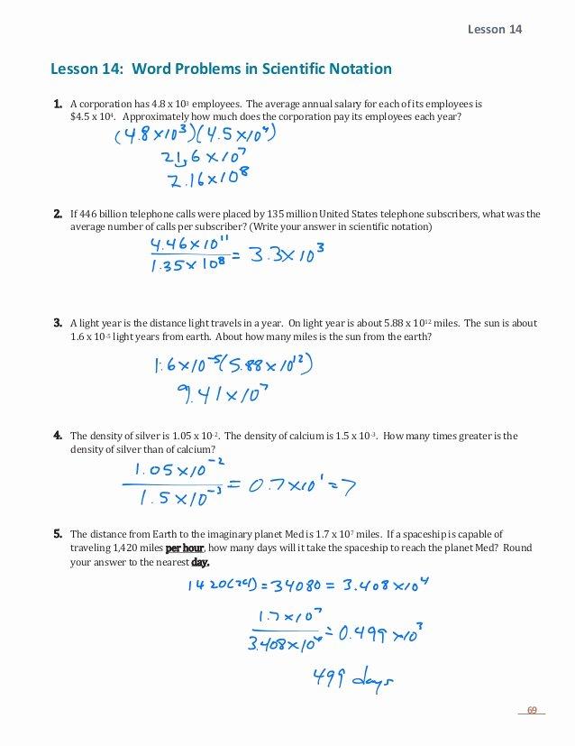 Scientific Notation Word Problems Worksheet Awesome E 1 Lesson 14 Word Problems with Scientific Notation