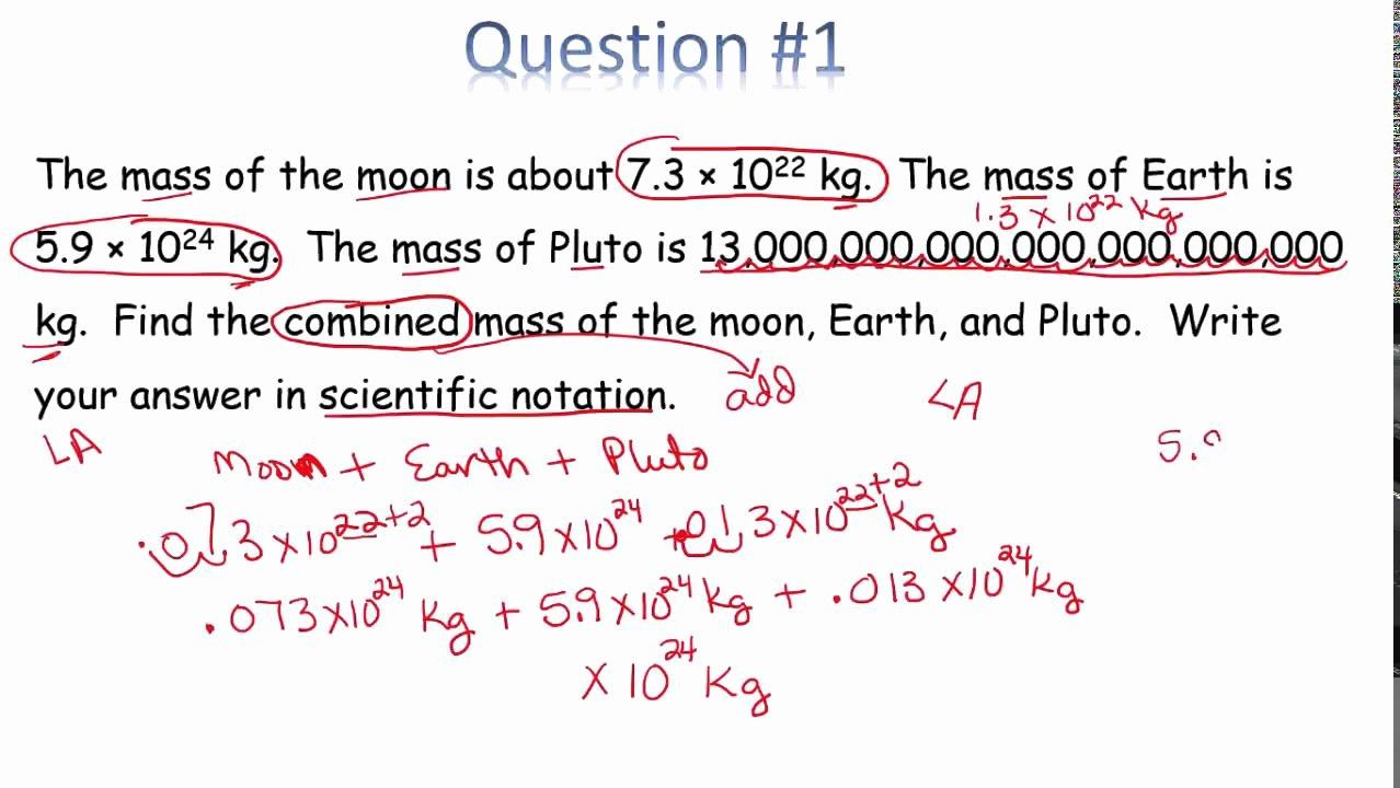 Scientific Notation Word Problems Worksheet Lovely Word Problems Scientific Notation In Class Video 1