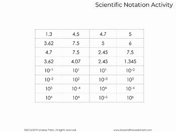 Scientific Notation Worksheet 8th Grade Elegant Scientific Notation Activity by Lindsay Perro