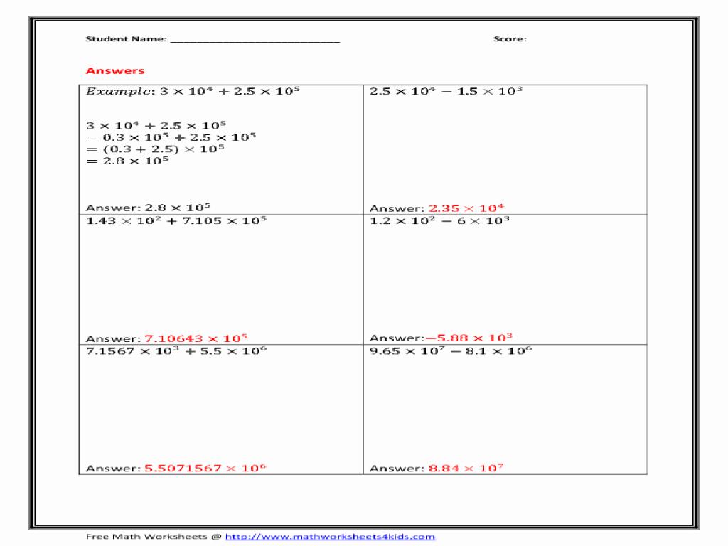 Scientific Notation Worksheet 8th Grade Elegant Scientific Notation Worksheet for 8th Grade