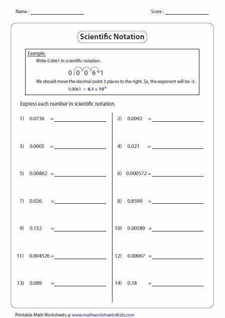 Scientific Notation Worksheet 8th Grade Elegant Scientific Notation Worksheets