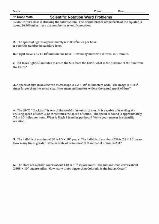 Scientific Notation Worksheet 8th Grade Inspirational Scientific Notation Word Problems 8th Grade Math Worksheet