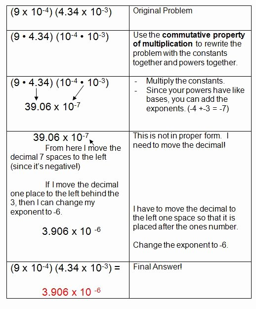 Scientific Notation Worksheet 8th Grade Lovely Scientific Notation and Monomials Exponents
