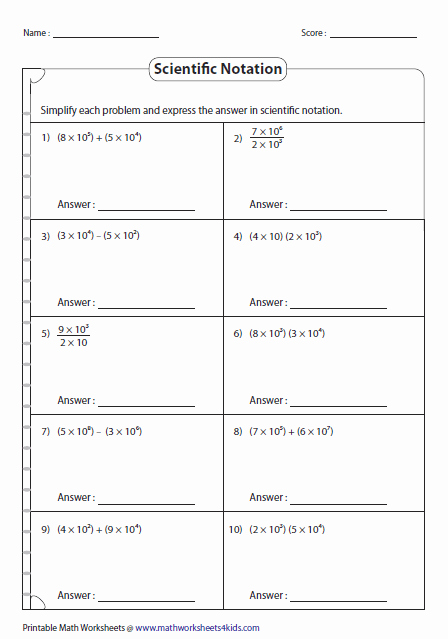 Scientific Notation Worksheet Pdf Best Of Scientific Notation Worksheets