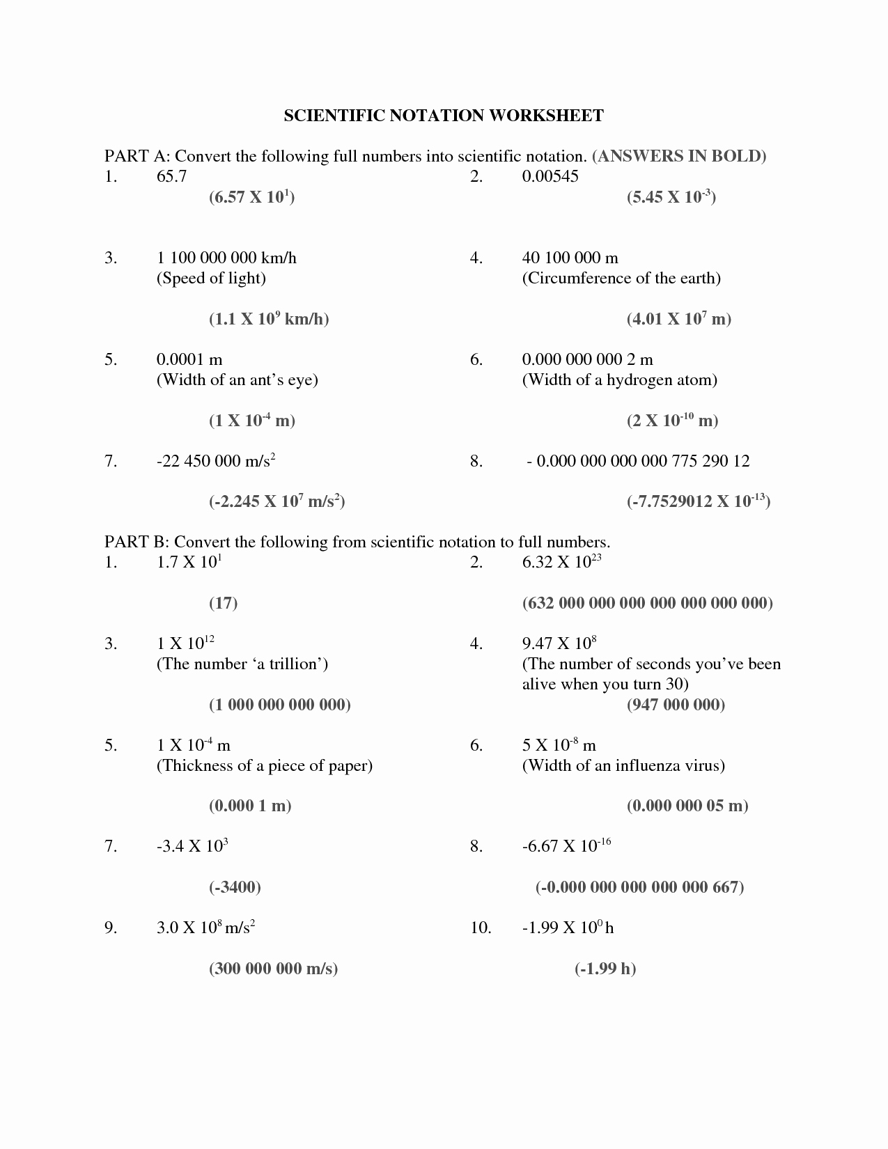 Scientific Notation Worksheet with Answers Inspirational 7 Best Of Speed Light Worksheet Waves Crest