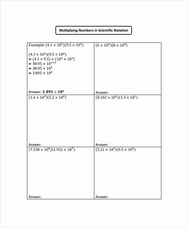 Scientific Notation Worksheet with Answers Inspirational Sample Scientific Notation Worksheet 9 Free Documents