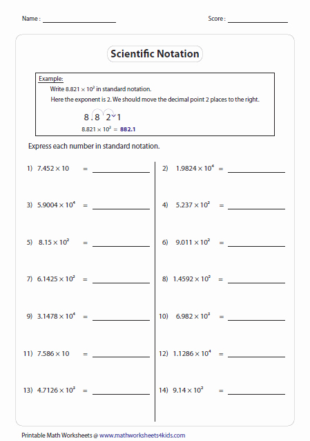 Scientific Notation Worksheet with Answers Luxury Scientific Notation Worksheets
