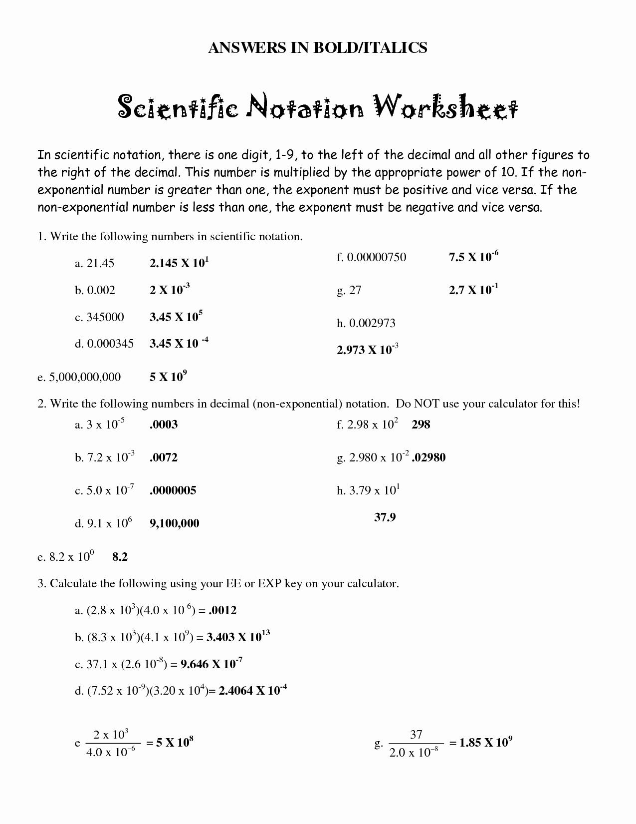 Scientific Notation Worksheet with Answers New Worksheet Scientific Notation Part 2 Answers