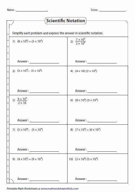 Scientific Notation Worksheet with Answers Unique Operations with Scientific Notation Worksheet