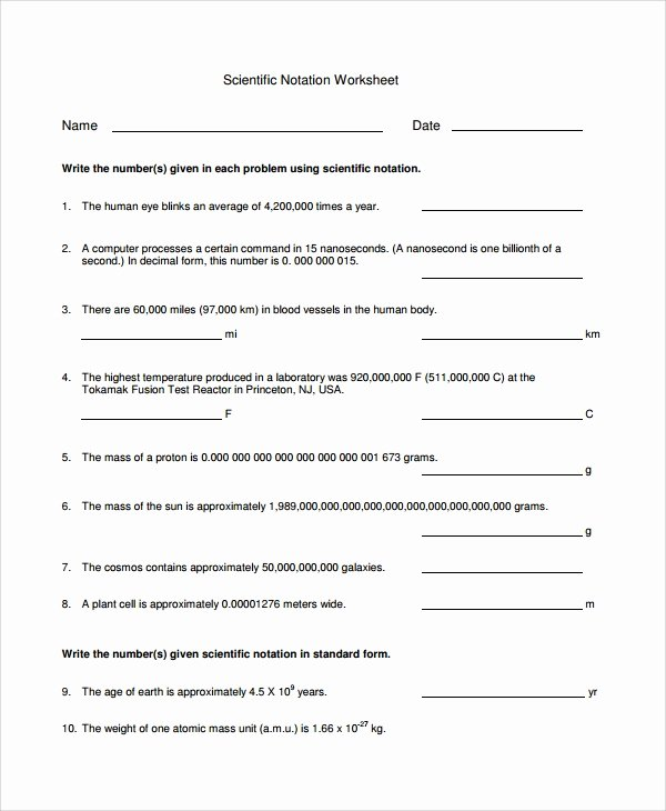 Scientific Notation Worksheet with Answers Unique Sample Scientific Notation Worksheet 9 Free Documents