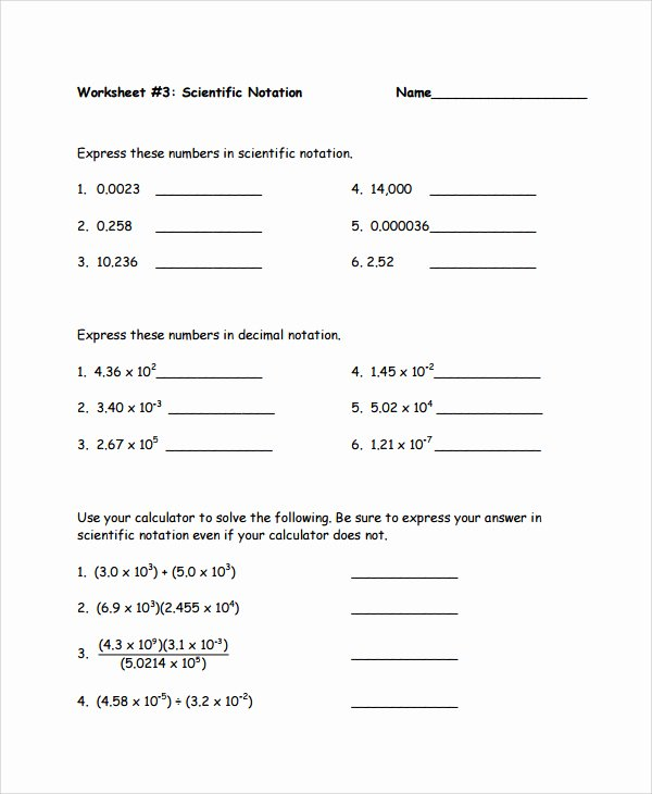 Scientific Notation Worksheet with Answers Unique Scientific Notation Multiplication and Division Worksheet