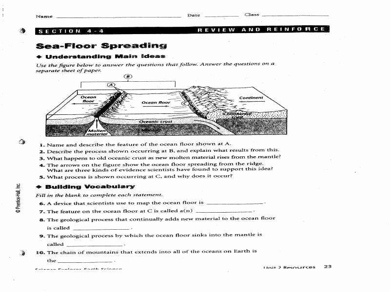 Sea Floor Spreading Worksheet Answer Fresh Sea Floor Spreading Worksheet