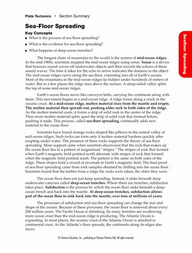 Sea Floor Spreading Worksheet Answer Lovely Sea Floor Spreading Worksheet Answers