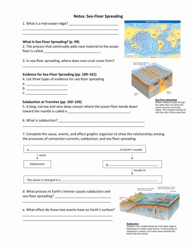 Sea Floor Spreading Worksheet Answer Luxury 9 2 Seafloor Spreading Worksheet Answers