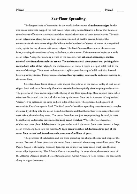 Sea Floor Spreading Worksheet Answer Luxury Sea Floor Spreading Worksheet Reading Prehension