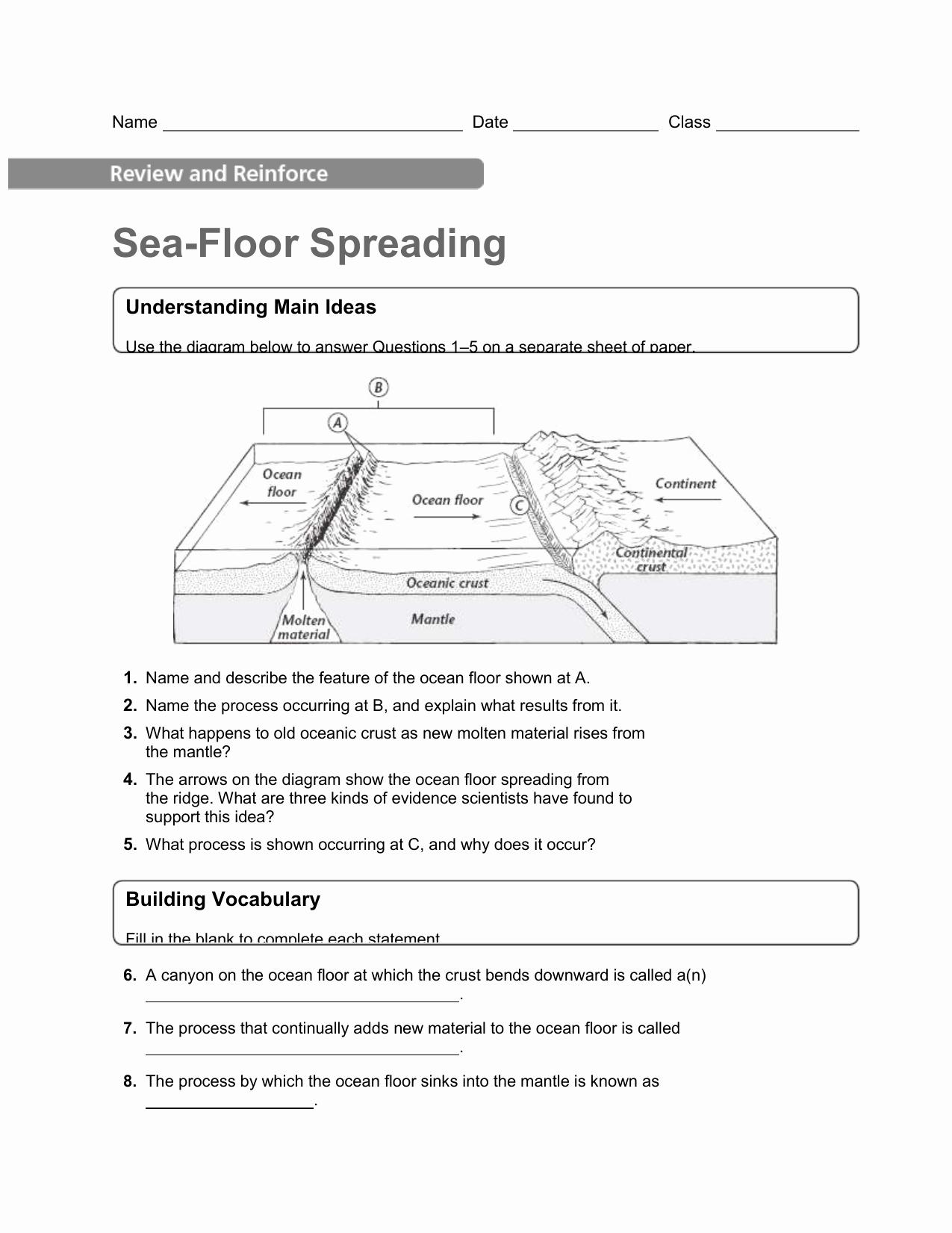 Sea Floor Spreading Worksheet Answer New Sea Floor Spreading Worksheet Answers