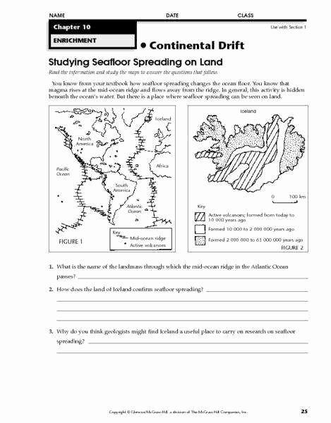 Sea Floor Spreading Worksheet Answer New Sea Floor Spreading Worksheet