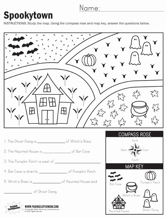 Second Grade social Studies Worksheet Awesome Spookytown Map Worksheet 1st Grade Worksheets