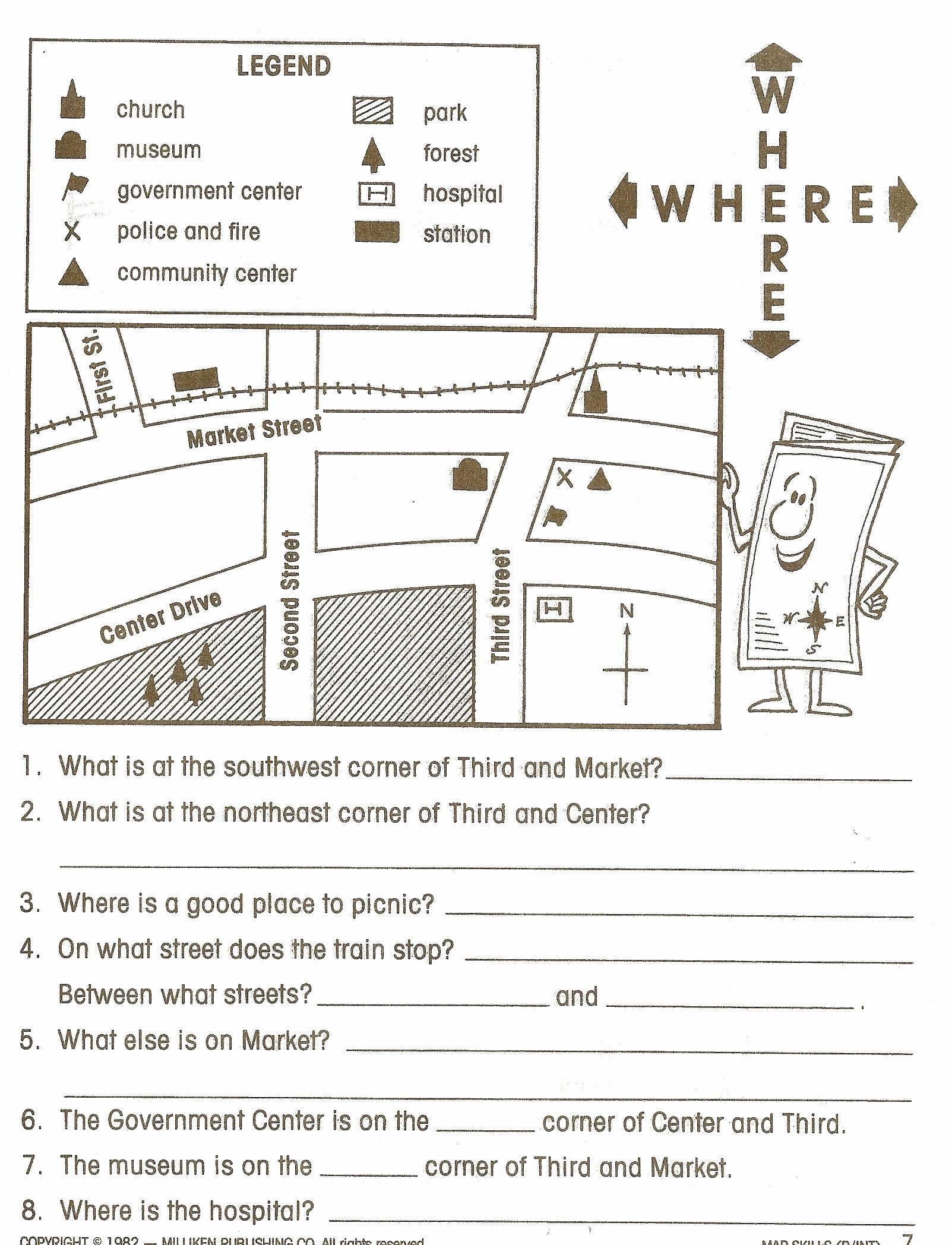 Second Grade social Studies Worksheet Elegant Map Symbols and Directions Worksheet