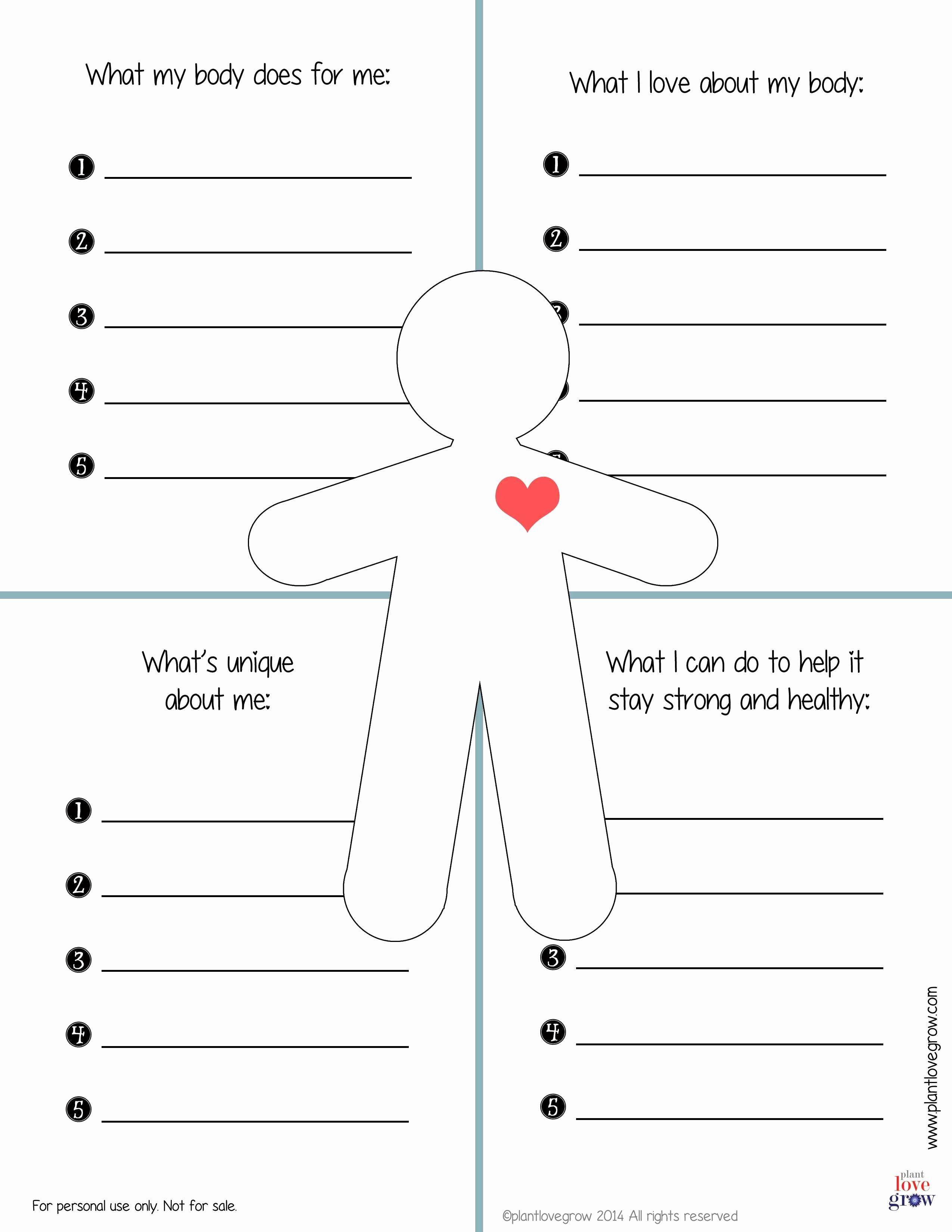 Self Esteem Worksheet for Adults Beautiful 30 Self Esteem Worksheets to Print
