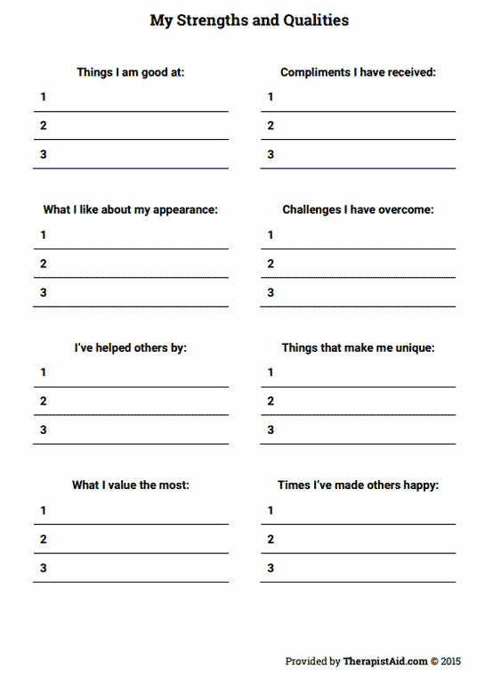 Self Esteem Worksheet for Adults Elegant My Strengths and Qualities Worksheet