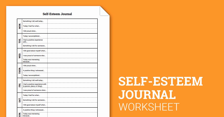 Self Esteem Worksheet for Adults Fresh Self Esteem Journal Worksheet