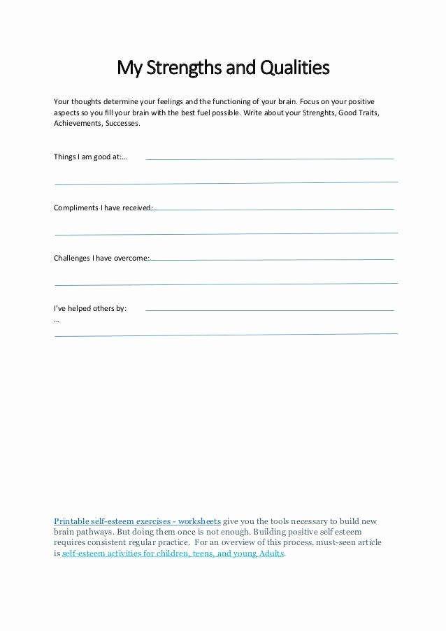 Self Esteem Worksheet for Adults Inspirational Self Esteem Worksheets for Kids