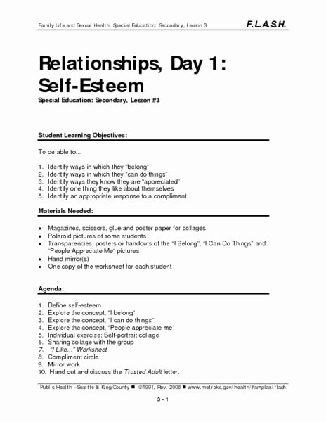 Self Esteem Worksheet for Adults Luxury Relationships Day 1 Self Esteem Lesson Plan