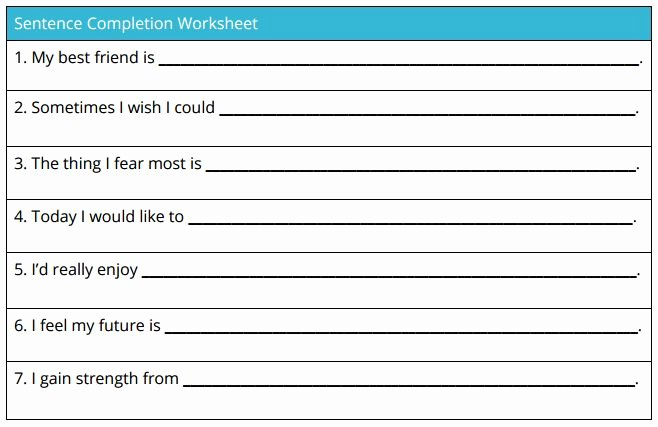 Self Esteem Worksheet for Adults Luxury Sentence Pletion Worksheet theranest