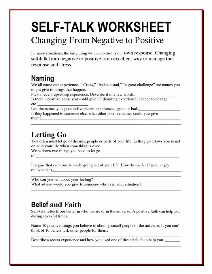 Self Esteem Worksheet for Adults Luxury the Worry Bag Self Talk Worksheet the Healing Path with
