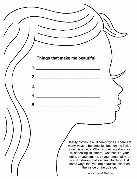 Self Esteem Worksheet for Teens Best Of Types Of Beauty Worksheet