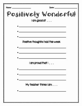 Self Esteem Worksheet for Teens Elegant Self Esteem Positive Thinking Worksheets
