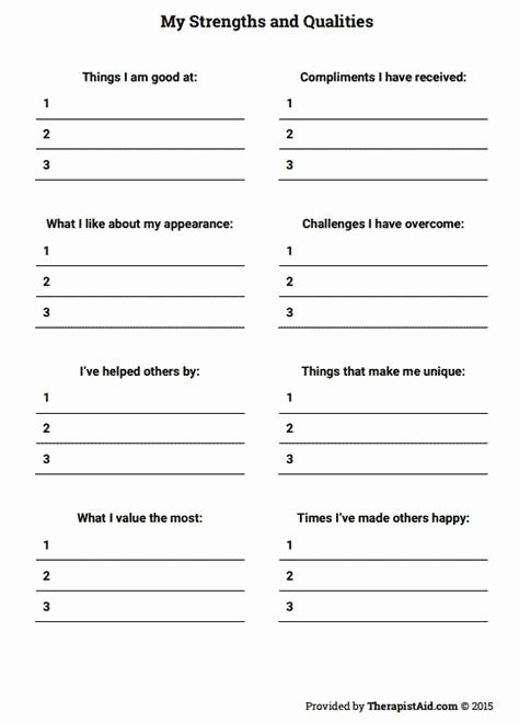 Self Esteem Worksheet for Teens New My Strengths and Qualities Worksheet