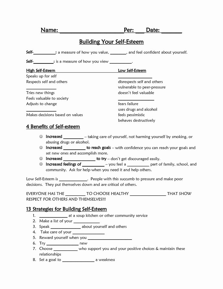 Self Esteem Worksheet for Teens Unique Best 25 Self Esteem Worksheets Ideas On Pinterest