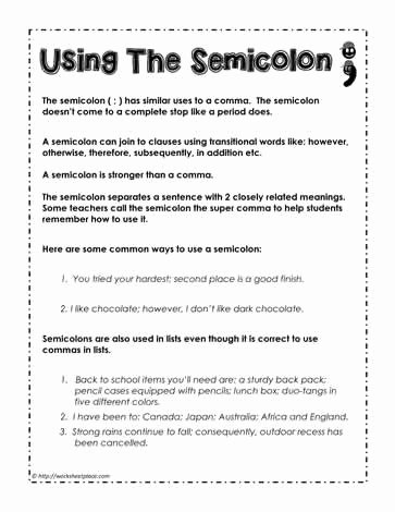 Semicolon and Colon Worksheet Luxury How to Use A Semicolon Worksheets