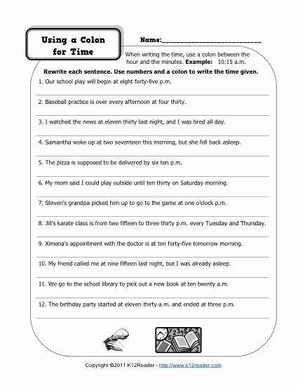 Semicolon and Colon Worksheet New Colons and Time
