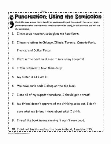Semicolon and Colon Worksheet New Semicolon Worksheet Worksheets