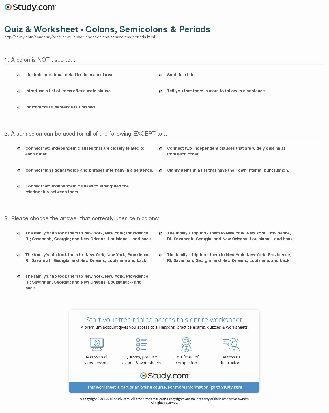 Semicolons and Colons Worksheet Awesome Quiz & Worksheet Colons Semicolons & Periods