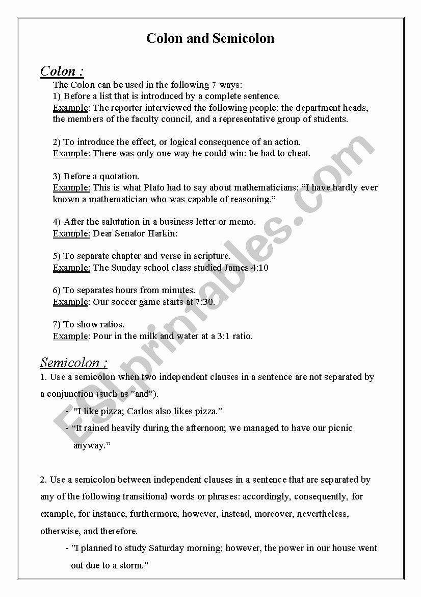 Semicolons and Colons Worksheet Beautiful English Worksheets Colon and Semicolon