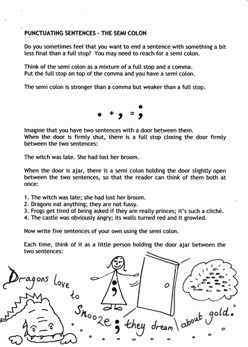 Semicolons and Colons Worksheet Beautiful Punctuation People Semi Colons by Catherinepaver