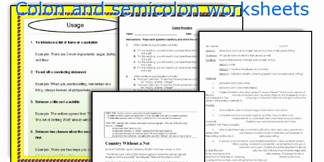 Semicolons and Colons Worksheet Elegant English Teaching Worksheets Colon and Semicolon
