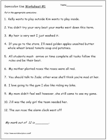 Semicolons and Colons Worksheet Fresh Semicolon and Worksheets On Pinterest