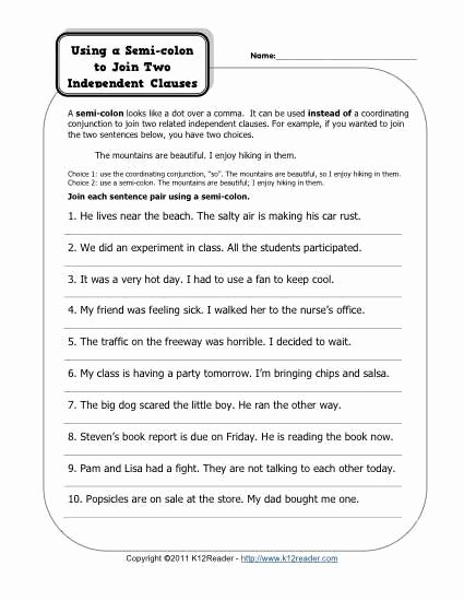 Semicolons and Colons Worksheet Luxury Semi Colons and Independent Clauses School