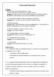 Semicolons and Colons Worksheet New English Worksheets Colon and Semicolon