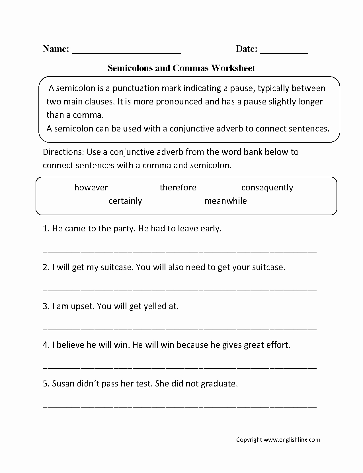 Semicolons and Colons Worksheet New Semicolon Worksheets Englishlinx Board