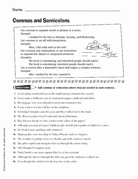 Semicolons and Colons Worksheet Unique Mas and Semicolons Worksheet for 6th 7th Grade